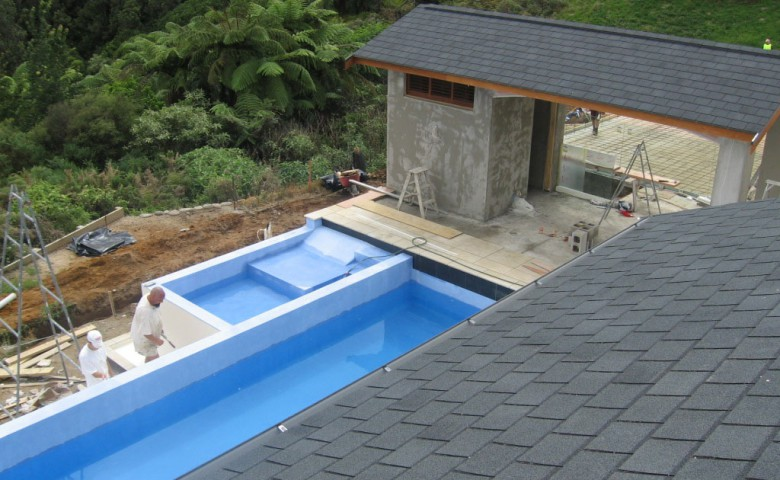 Roof view of outdoor swimming pool area for new dwelling