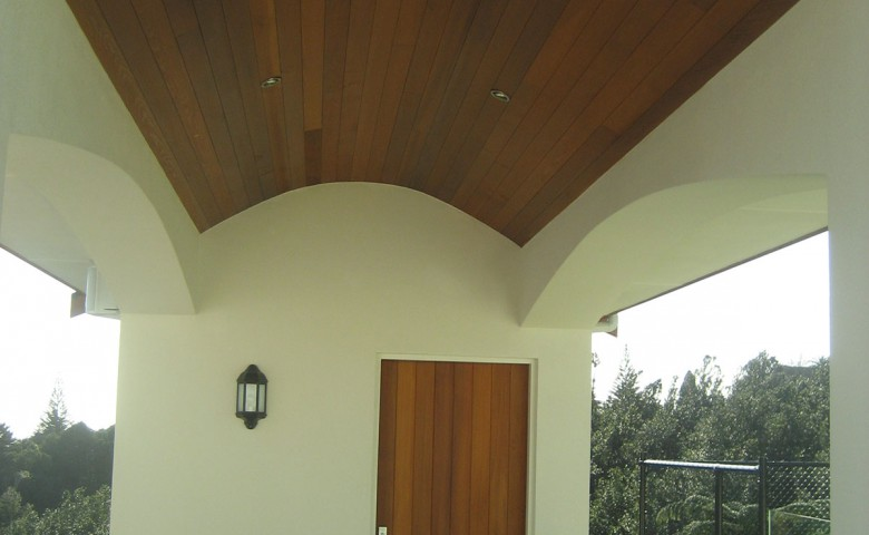 Wooden stained roof over swimming pool outdoor area project managed by IPMS