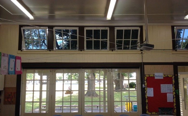 Looking out the Matamata Primary School's windows after building upgrade managed by IPMS